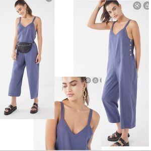 Nwot UO XS Marta Linen Side-Button Jumpsuit blue